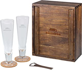 NFL Acacia Wood Pilsner Beer Glass Gift Set for Two