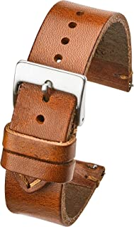 Hand Made Genuine Vintage Leather Watch Strap with Quick Release Steel Spring Bars - Black, Brown and Tan in Sizes 18mm, 20mm, 22mm, 24mm (fits Wrist Size 6 1/4 inch to 8 inch)