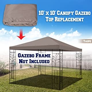 BenefitUSA 10'X10' Replacement Top Gazebo Canopy Cover Patio Pavilion Sunshade Plyester Single Tier (Taupe)