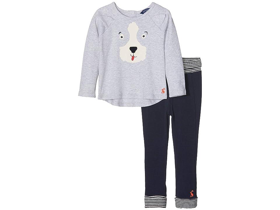 Joules Kids Applique Knit Top and Pants Set (Infant) (Grey Marl Dog) Boy