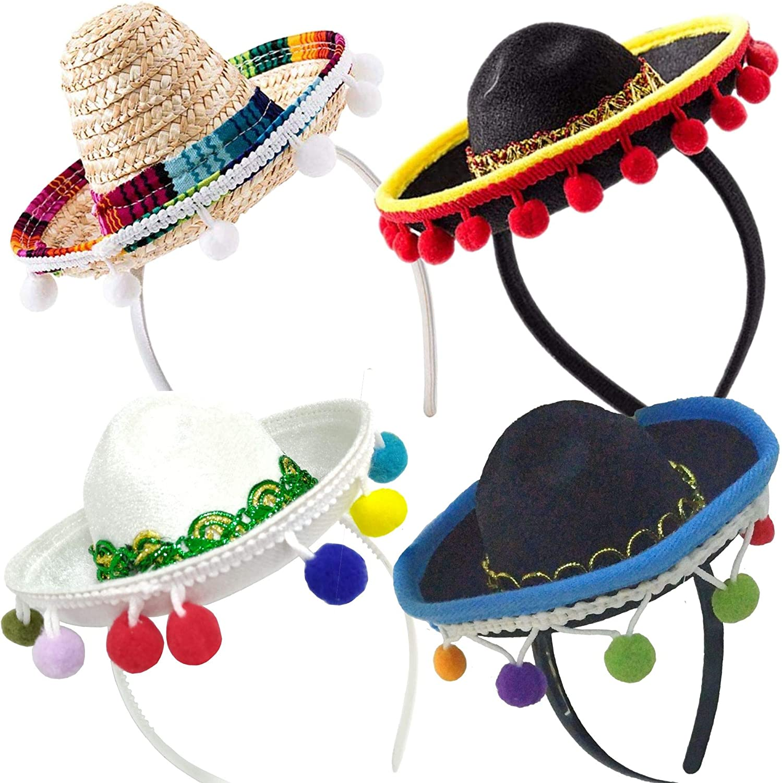 4 PCs Cheap mail order sales Cinco lowest price De Mayo Sombrero Mexican - Headband Hat Mini Sombrer