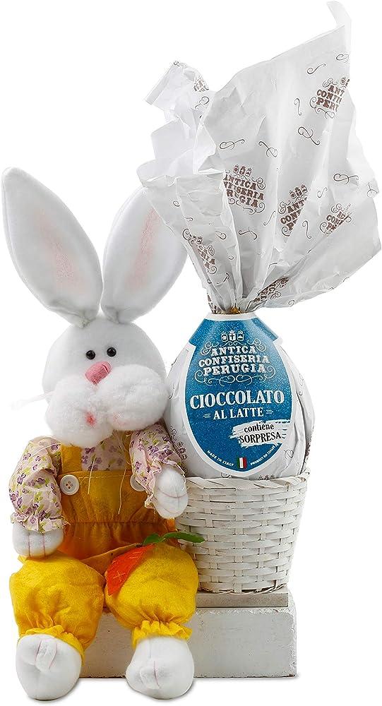 """Uovo di cioccolato artigianale al latte con statuetta porta oggetti """"coniglietto di pasqua""""con sorpresa"""