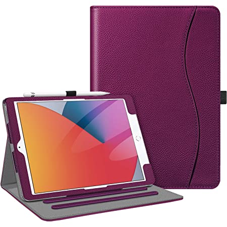 Fintie Case for iPad 10.2 Inch - [Corner Protection] Multi-Angle Viewing Folio Stand Cover with Pocket, Pencil Holder, Auto Wake/Sleep for iPad 8th / 7th Generation, Purple