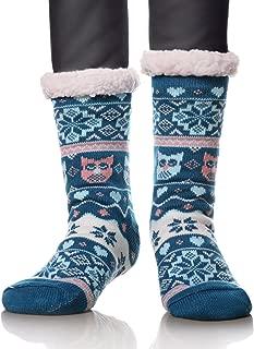 Women's Owl Snowflake Fleece Lining Knit Slipper Socks Christmas Knee Highs Stockings