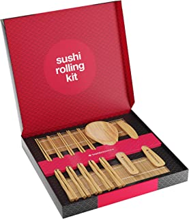 Sushi Making Kit Deluxe with Chopsticks - 100% Bamboo - Includes 2 Rolling Mats, Rice Spreader, Rice Paddle, 5 Pairs Chopsticks