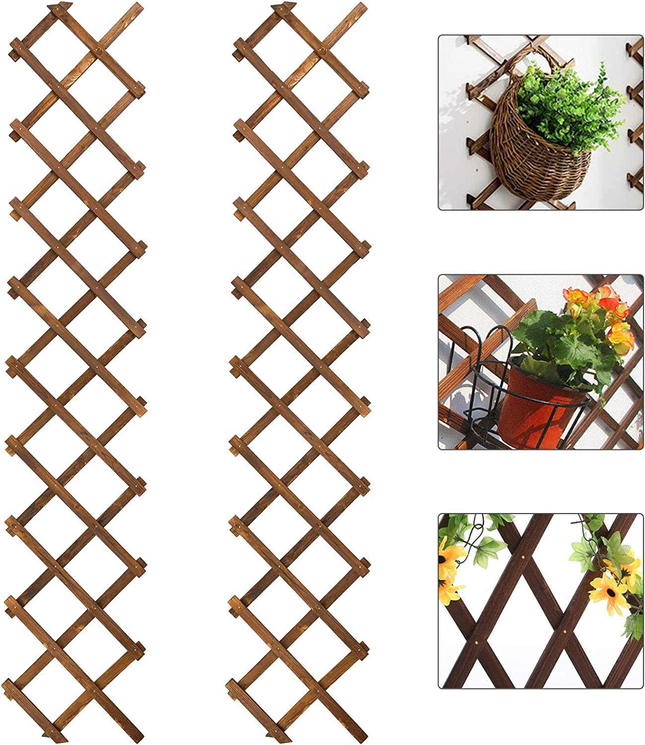Max 82% OFF Pack of 2 Wooden Lattice Wall Thick Pl Trust Extra Planter- Expandable