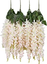 Duovlo Silk Wisteria Flower Artificial 2.13 Feet Hanging Wisteria Vine Fake Flower Bush String Home Party Wedding Decoration,Pack of 4 (Light Pink)