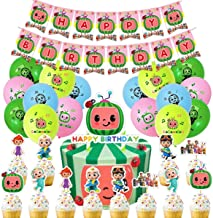 Cocomelon Party Supplies Cocomelon Birthday Decorations for Boys Girls Includes Happy Birthday Banner, Balloon, Cupcake To...