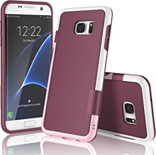 Galaxy S7 Edge Case, TILL(TM) Ultra Slim 3 Color Hybrid Impact Anti-Slip Shockproof Soft TPU Hard PC Bumper Extra Front Raised Lip Case Cover for Samsung Galaxy S7 Edge G935 5.5Inch [Wine]