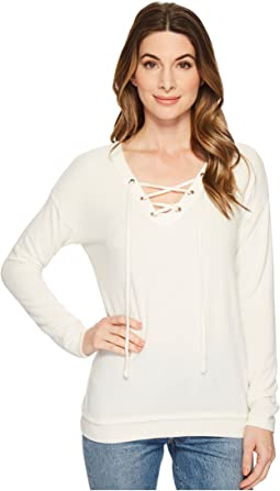 Michael Stars Madison Brushed Jersey V-Neck Lace-Up Top