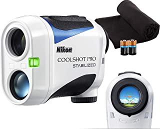 Nikon Coolshot Pro Stabilized Golf Laser Rangefinder Bundle | Includes Nikon Coolshot Pro, Case, PlayBetter Microfiber Towel, Two (2) CR2 Batteries | Stabilization Technology, Slope, Tournament Legal