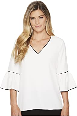 Calvin Klein - V-Neck Blouse w/ Piping