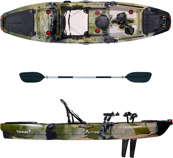Kayak atlantis - canoa tornado a pedali verde- cm 300 - seggiolino - 2 portacanna - pagaia B08WBVR8BL