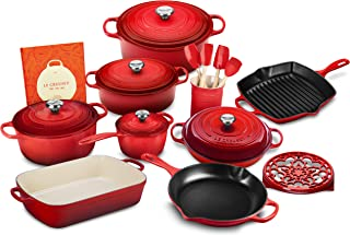 Le Creuset 20-piece Signature Cast Iron Cookware Set, Cerise (Cherry Red)