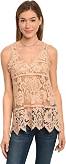 Imaginary Diva Pretty Beige Flower Lace Sheer Blouse Tank Top Casual Cotton