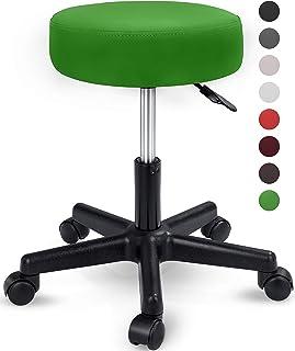 Taburete con ruedas taburete giratorio cosmético de trabajo consulta, regulable en altura, giratorio en 360°, con asiento acolchado de 10 cm y 8 variantes de colores (Verde)
