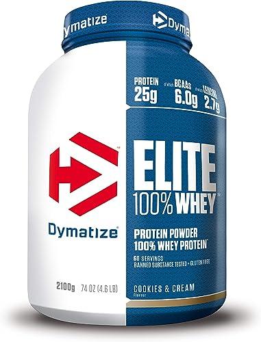 Dymatize Elite Whey Cookies&Cream 2,1 kg - Poudre à Hautes en Protéines et Faibles en Sucres + BCAA