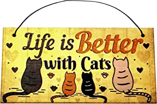Life is Better with Cats, Hanging Funny Wall Signs, Cat Lady Pet Lover, Vintage Farmhouse Home Decor, Wooden Wall Art Kitt...