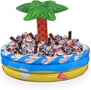 Ram-Pro Palm Tree Oasis Inflatable Party Cooler Durable Summer Inflatable Water Floats Tropical Pool Toys Beverage Cooler ...