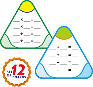 Hebayy 12 PCS Math Education Triangle Boards Flash Cards,Easy Wipe and Reusable, Perfect for Group Learning