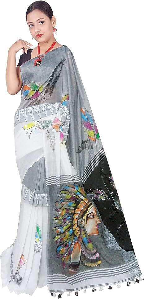 Indian Red Saree Women's Khadi Linen Saree With Un-stitched Blouse (Sanghamitra596_Black) Saree