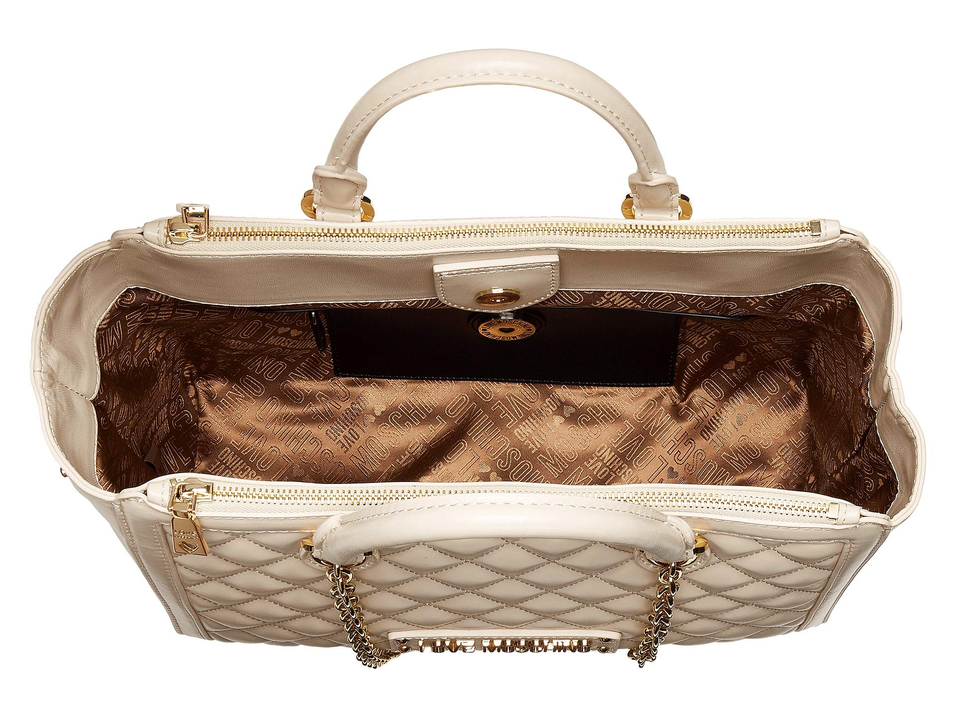 Quilted Moschino With Strap Handbag Love Shiny Ivory Chain wEqza1d