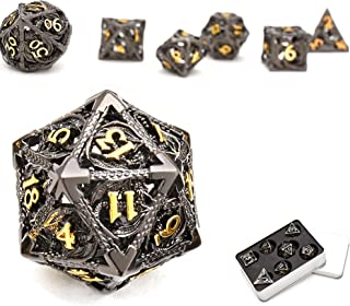 Dragon Pattern Hollow Metal DND Game Dice 7Pcs Set and with Metal Box Gifts for Dungeons and Dragons RPG MTG Table Games ...