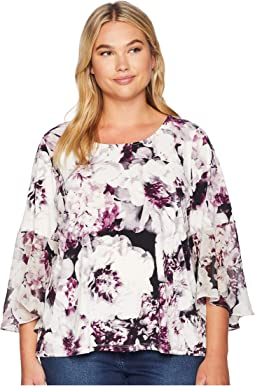 Plus Size 3/4 Sleeve Top w/ Chiffon Cuff