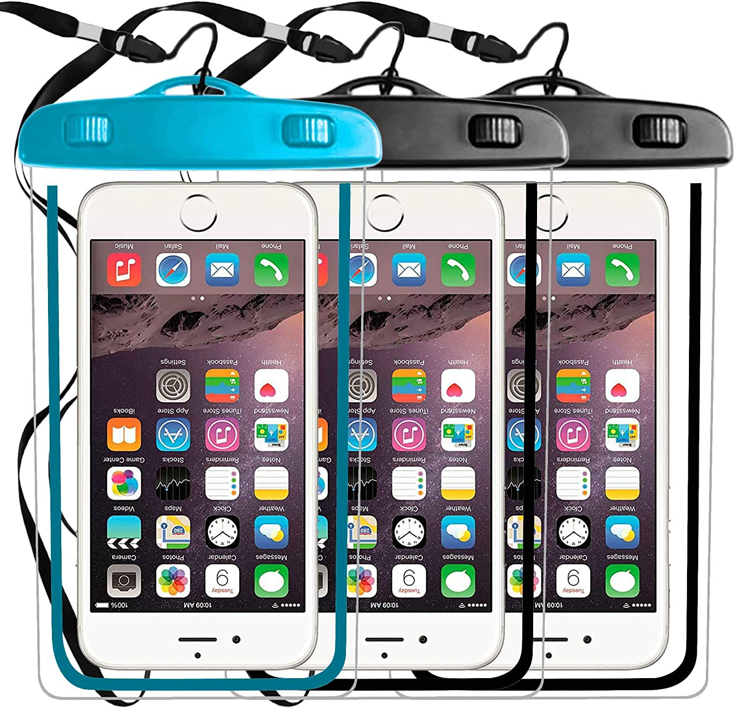 3 Pack Universal Waterproof Case,Phone Pouch Dry Bag Compatible with iPhone 11 PRO MAX Xs Max/XR/X/8/8P/7/7P,Galaxy s9,s8 s6 Plus Edge Diagonal to 6.3