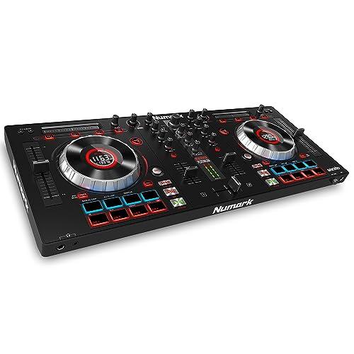 """Numark Mixtrack Platinum - Contrôleur DJ 4 voies, LCD, Jog Wheels Tactiles en Métal 5"""", Barre Tactile Multifunction, Interface Audio 24-bit, Plus Serato DJ Intro et Remix ToolKit de Prime Loops Inclus"""