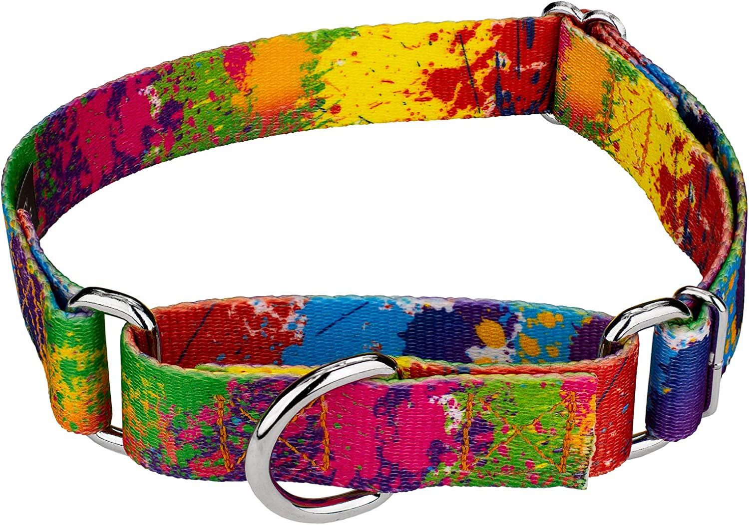 Country Brook Petz   Martingale Dog Collar  Groovy Collection with 5 Far Out Designs (Large, 1 Inch Wide, Paint Splatter)