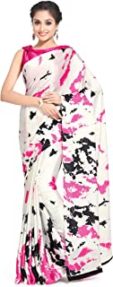 Womanista Satin with Blouse Piece Saree (TI1200_Pink & Off White_One Size)