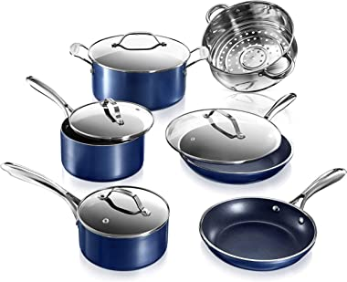 Granite Stone Diamond Granite Stone Classic Blue Pots and Pans Set with Ultra Nonstick Durable Mineral & Diamond Triple Coate