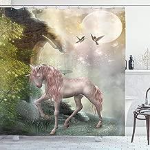 Ambesonne Hummingbirds Shower Curtain, Unicorn Green Spring Leaves Birds Twinkling Star Moon Mystic Fantasy Fairytale, Cloth Fabric Bathroom Decor Set with Hooks, 84 Long Extra, Pink Mint