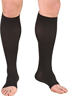 Truform 15-20 mmHg Compression Stockings for Men and Women, Knee High Length, Open Toe, Black, Large
