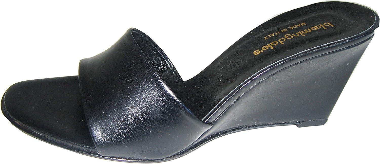 Bloomingdale's Mule Wedge Sandal Leather Black, or Tan Camel