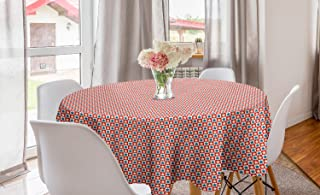 Lunarable Striped Round Tablecloth, Checkered Square Pattern Stars American Flag Themed Patriotic Design, Circle Table Clo...