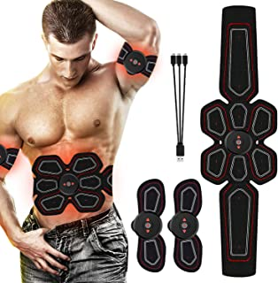RoMere ABS Stimulator Muscle Toner Abdominal Toning Belt Workouts Portable EMS Training Home Office Fitness Equipment for Abdomen/Arm/Leg Training(USB Charging)