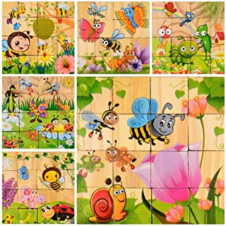 DDTOP 16 Pieces Nature Insect World Wooden Cube Block Jigsaw Puzzles Include Butterfly Grasshopper Ladybirds Snails Bee Educational Preschool Toy Age 3 Years Old Kids Birthday Christmas Year