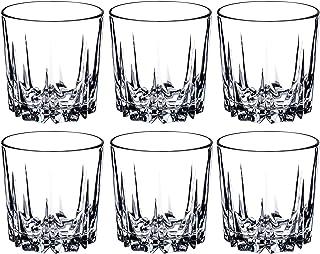 KADAX Trinkgläser aus hochwertigem Glas, 6er Set, Wassergläser, dickwandige Saftgläser, geriffelte Gläser für Wasser, Drink, Saft, Party, Cocktailgläser, Getränkegläser niedrig, 300ml