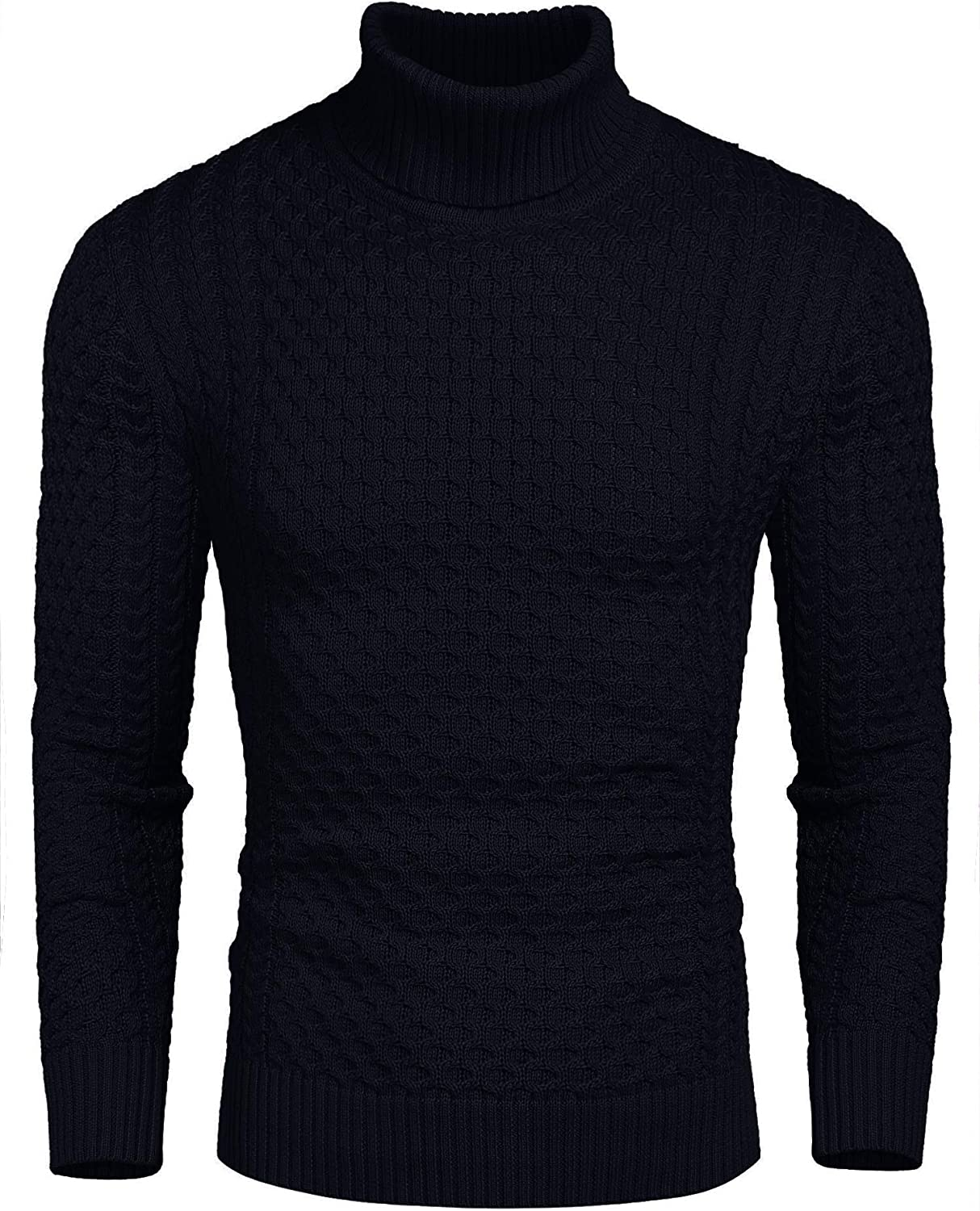 COOFANDY Mens Jumpers Turtleneck Slim Fit Twisted Knitted Ribbed Casual Pullover Jumpers