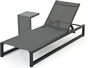 Michelle Outdoor Grey Mesh and Black Finish Rust-Proof Aluminum Frame Chaise Lounge with Matching Table