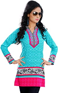 Indian Kurti Colorful Tunic Top Printed Womens Blouse India Clothes