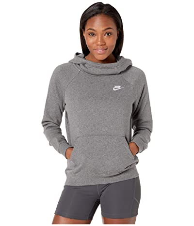 Nike NSW Essential Funnel Pullover Fleece (Charcoal Heather/White) Women
