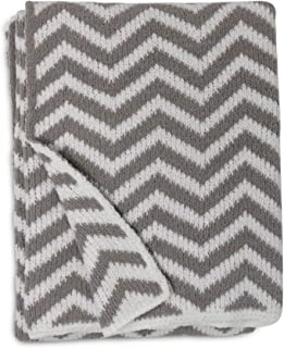 Living Textiles Chevron Chenille Soft Baby Blanket PREMIUM HIGH QUALITY Cozy Fabric for BEST COMFORT - For Infant,Toddler,Newborn,Nursery,Boy,Girl,Unisex,Throw,Crib,Stroller,Gift, Grey Chevron 40x30
