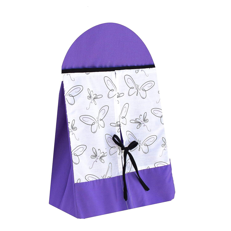 Pam Grace Creations Butterflies Diaper Stacker, Purple|Black|White