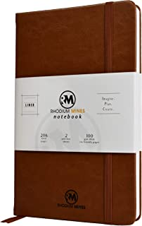 A5 Notebook, Lined - by Rhodium Mines®, (20.8cm x 13.1cm), Hardback | Premium 100gsm Thick Ivory Paper, Classic Ruled Writing Journal, Hardcover, PU Leather, (Brown)
