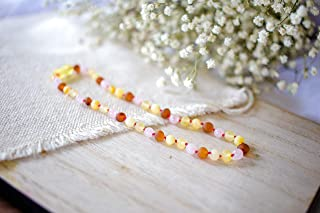 Rose Quartz + Multi Color Amber Necklace - 12.5 inch + Amber seller for 5+ Years