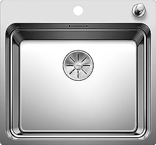 BLANCO ETAGON 500-IF/A - Edelstahlspüle für die Küche für 60 cm breite Unterschränke - Mit IF-Flachrand und integrierter Armaturenbank - Edelstahl Seidenglanz - 521748