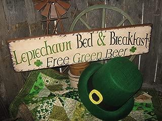 Blanche989 Very Primitive Wood Sign Artist Original Irish Design Leprechaun Bed Breakfast Subway Patricks Holiday